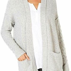 Style & Co Marled Open-Front Cardigan-Size M- Grey